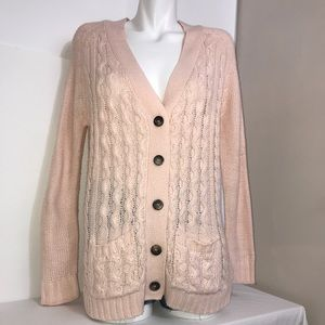 StreetwearSociety PalePink Button CableKnitSweater